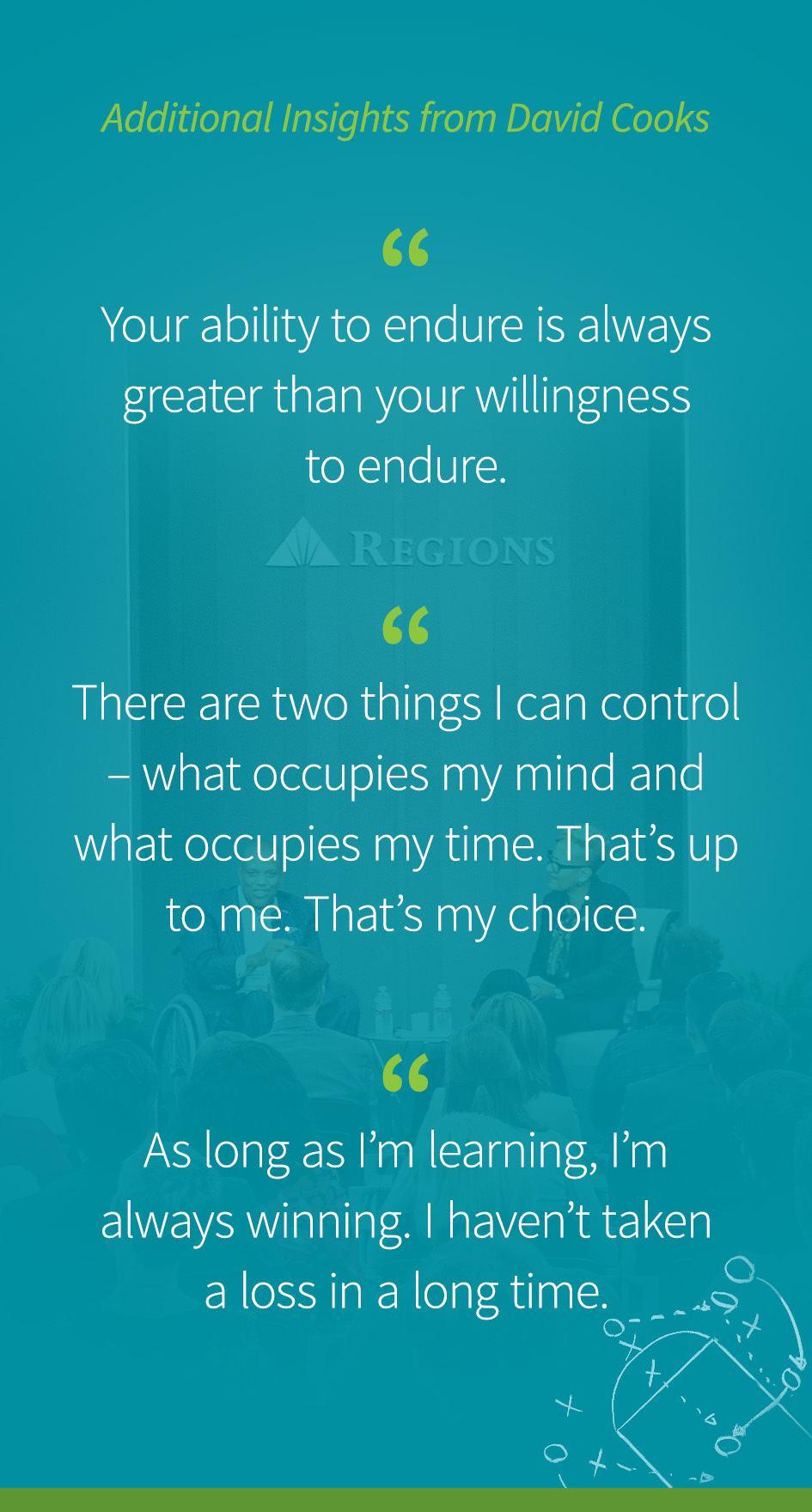 "Additional Insights from David Cooks: ""Your ability to endure is always greater than your willingness to endure."" ""There are two things I can control – what occupies my mind and what occupies my time. That's up to me. That's my choice."" ""As long as I'm learning, I'm always winning. I haven't taken a loss in a long time."""