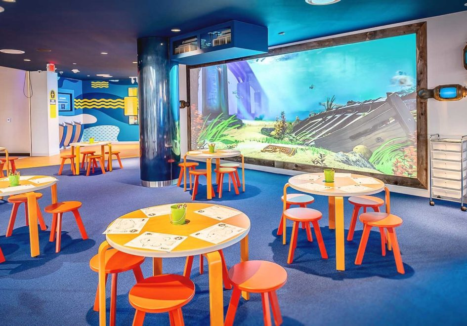 The Fish Draw area allows kids (and kids at heart!) to color a fish, scan it, then see their fish swim on the virtual Mississippi River wall.