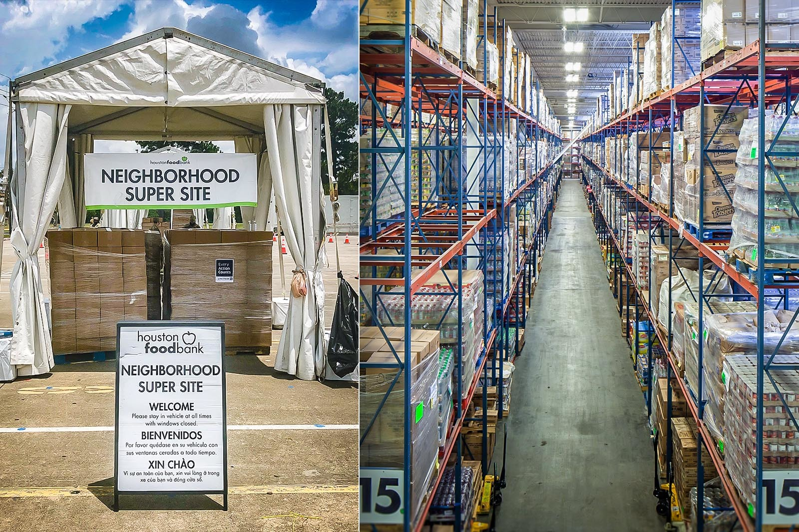 The Houston Food Bank works with pantry partners to host super site events around the city. With many supermarkets cleared out by consumer buying during COVID-19, food banks have been purchasing items to keep shelves stocked.