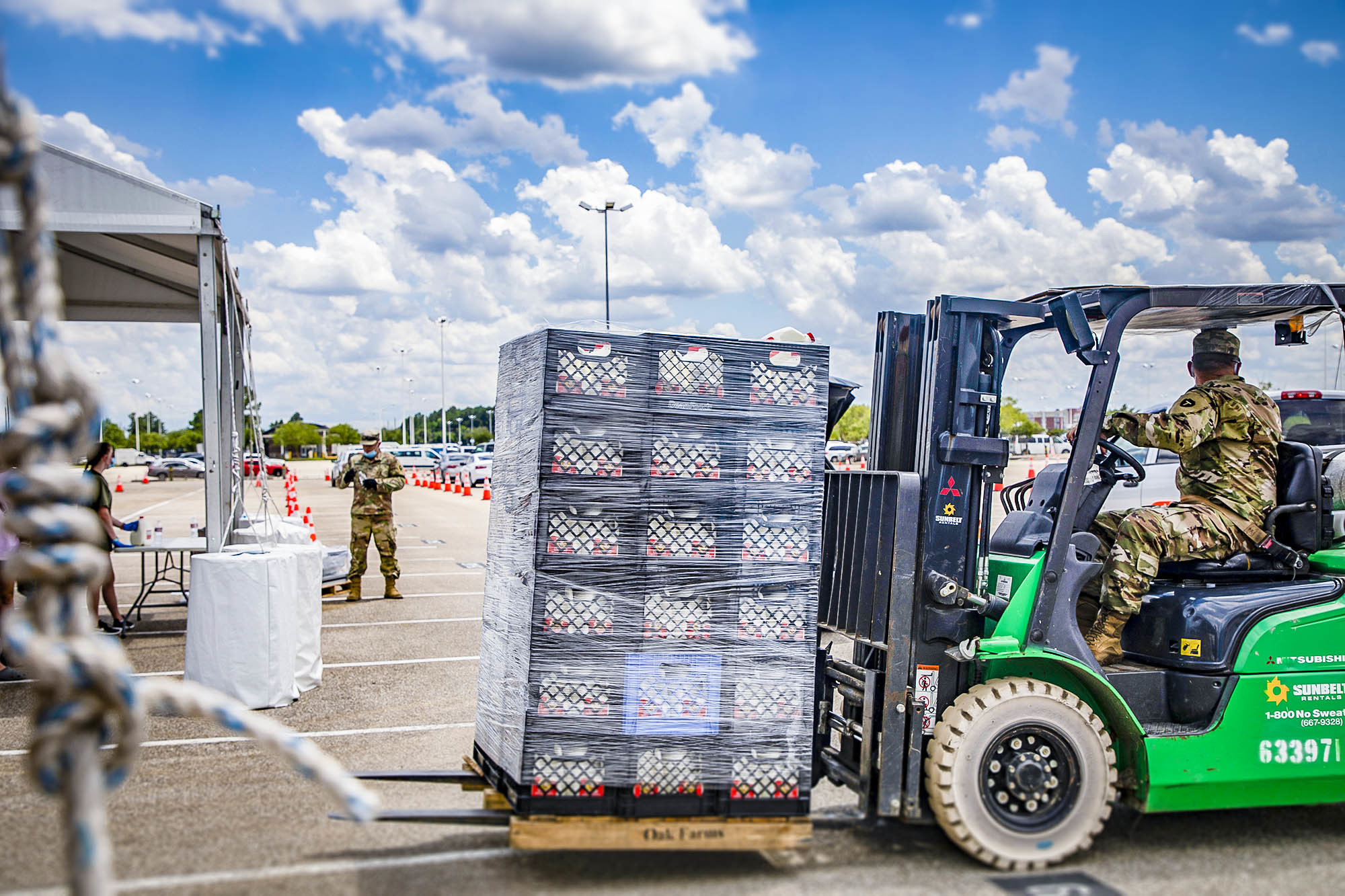 The National Guard has provided hundreds of hours of volunteer support at the Houston and Atlanta Community Food Bank.