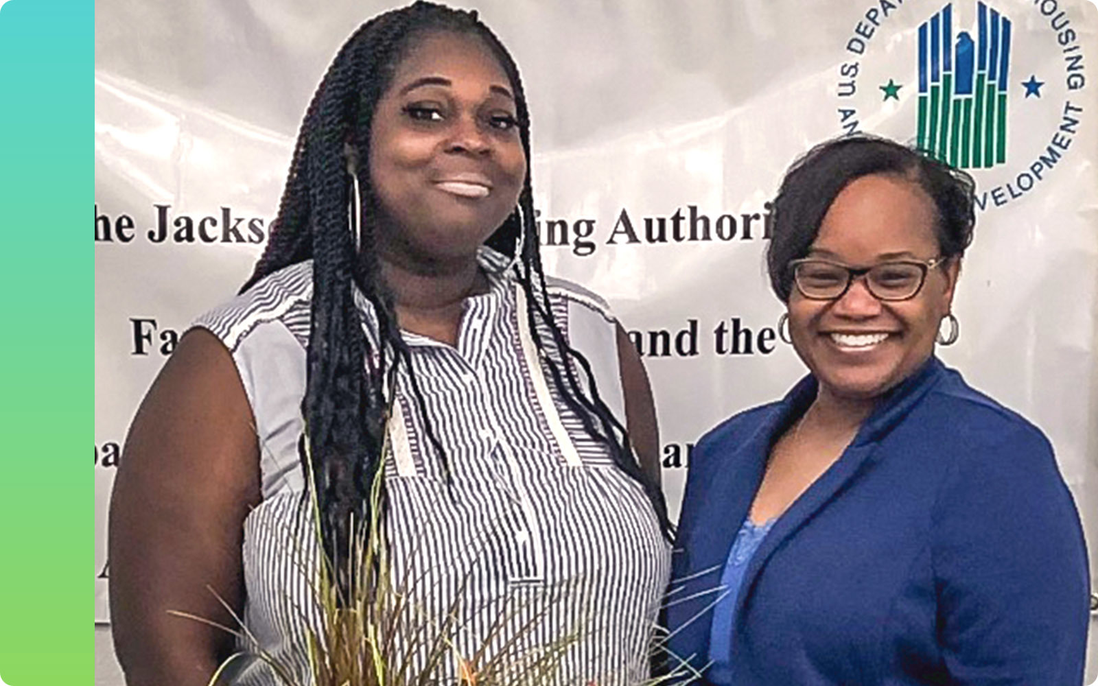 Gleynnzella Williams, left, and HOPE Inside financial counselor Jackie Thompson, right, worked together to raise Williams' credit score 132 points so she could qualify for a mortgage.