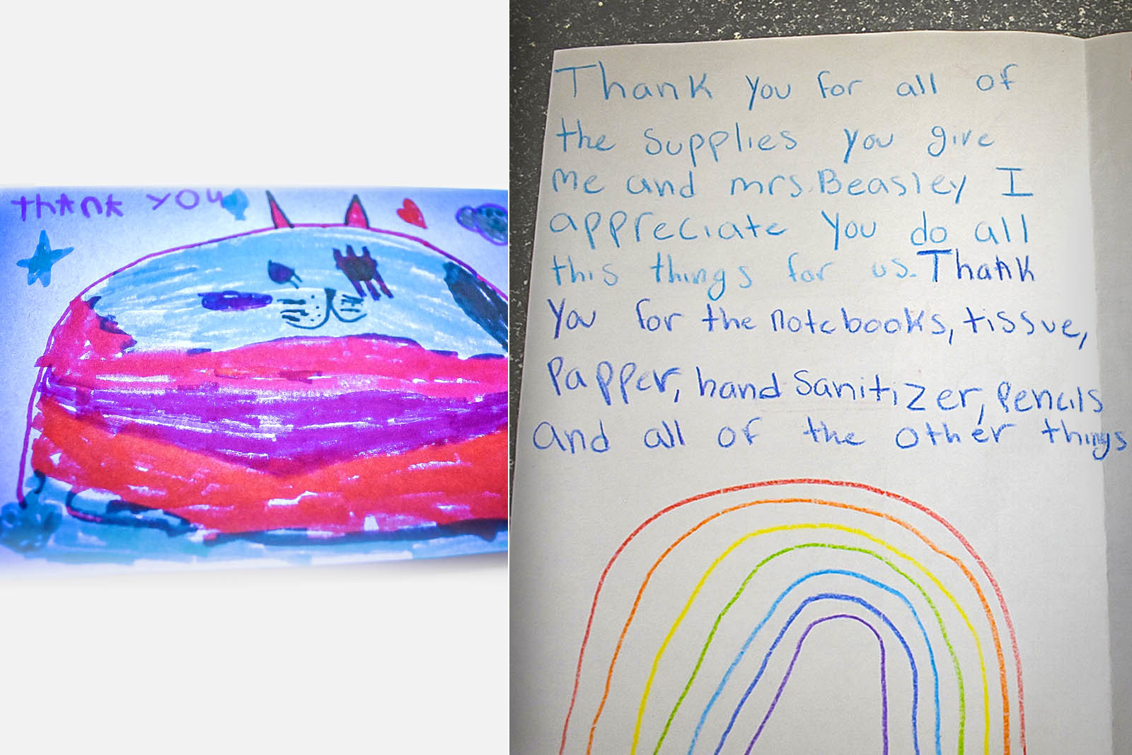 Students have written creative thank you notes to Classroom Central for the pencils, notebooks, markers and more they've received that inspire their learning.