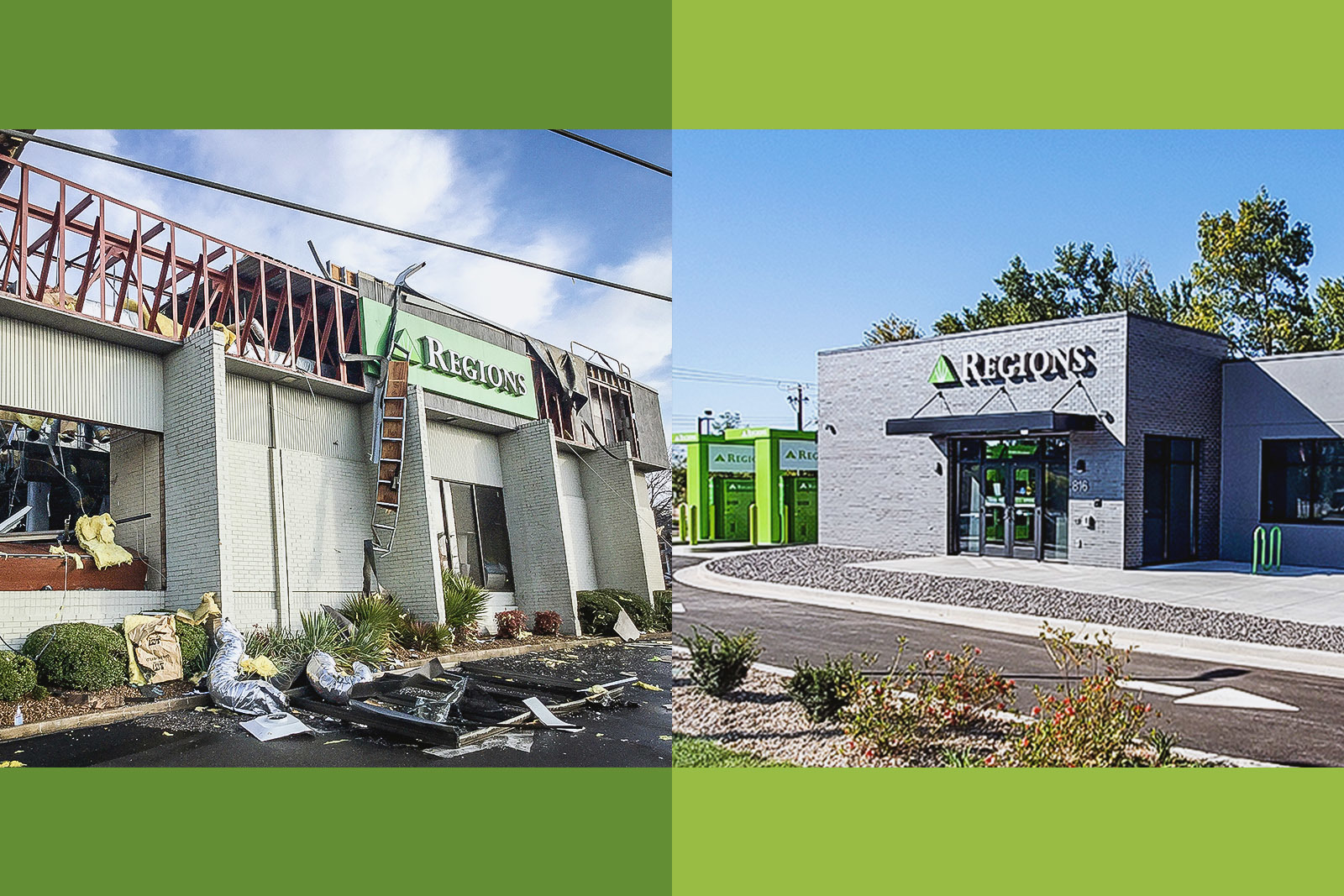 Regions is a longtime member of the North Nashville community. The bank's North Nashville branch (left) was destroyed in the March 2020 tornado, and the bank is finalizing plans for a new North Nashville branch while serving customers from a modular facility on-site.