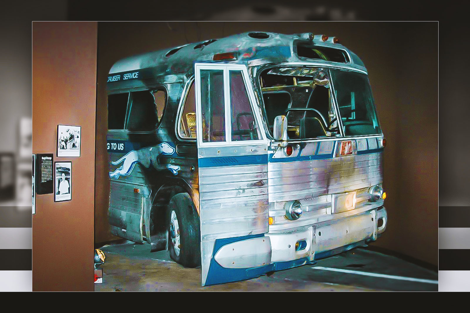 A replica of a Greyhound bus is part of an exhibit at the BCRI that educates visitors about the 1961 attack on Freedom Riders in Anniston, Alabama. The bus was firebombed while it was carrying an interracial group of people who were challenging segregation laws. The attack raised awareness of social injustices and prompted federal lawmakers to pass new regulations banning segregated travel.