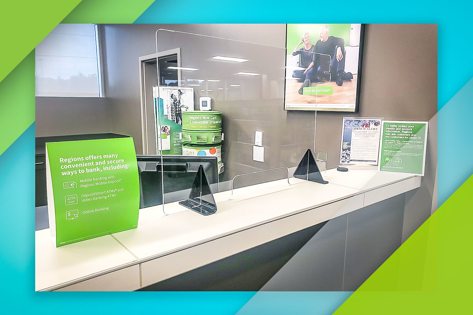 Protective shields have been installed at various teller lines and banker desks as one of many safety precautions.
