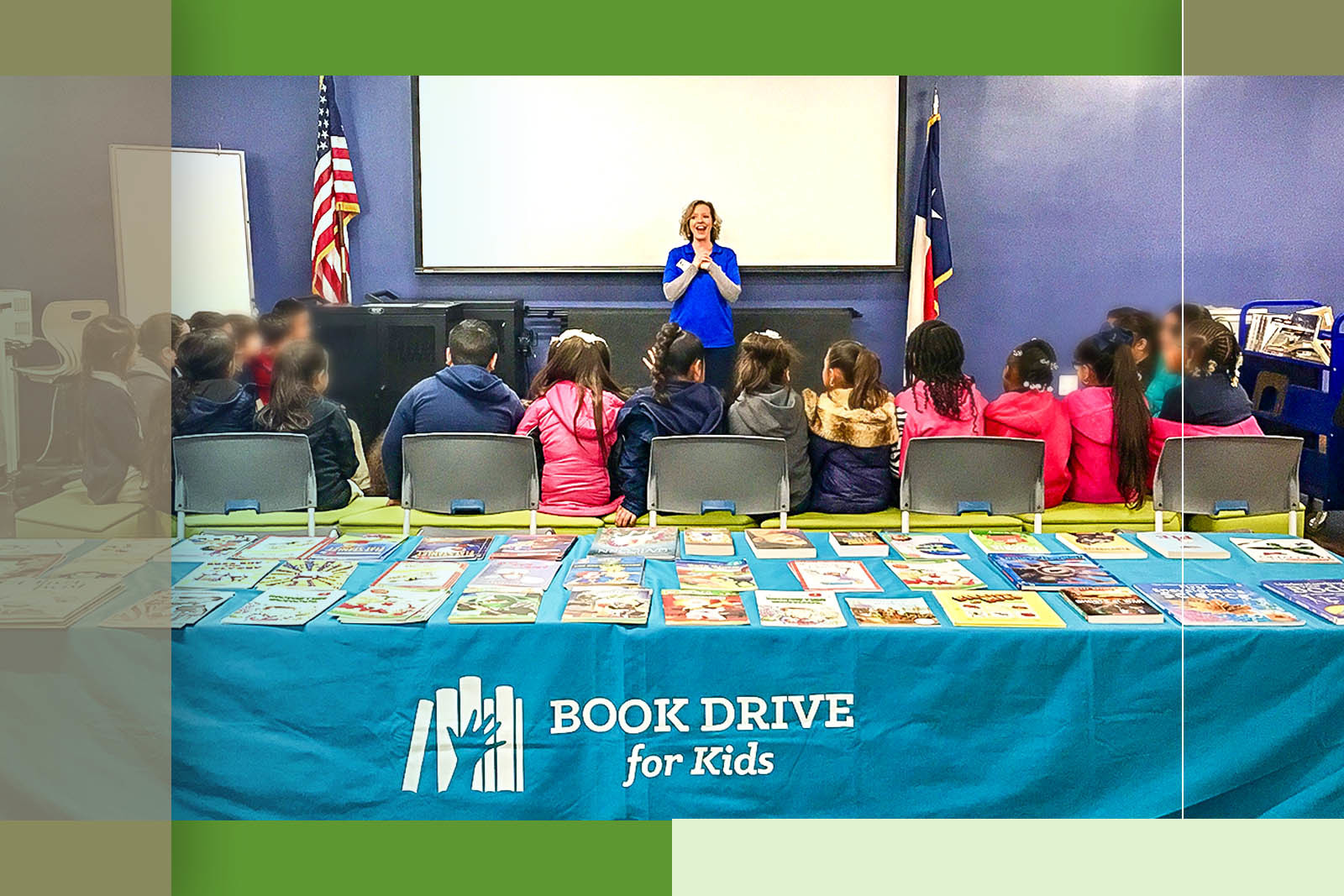 Book Drive for Kids co-founder Michelle Cook is dedicated to providing free books to Texas students through school events like this one from 2019. Last year, the nonprofit served more than 9,600 students.
