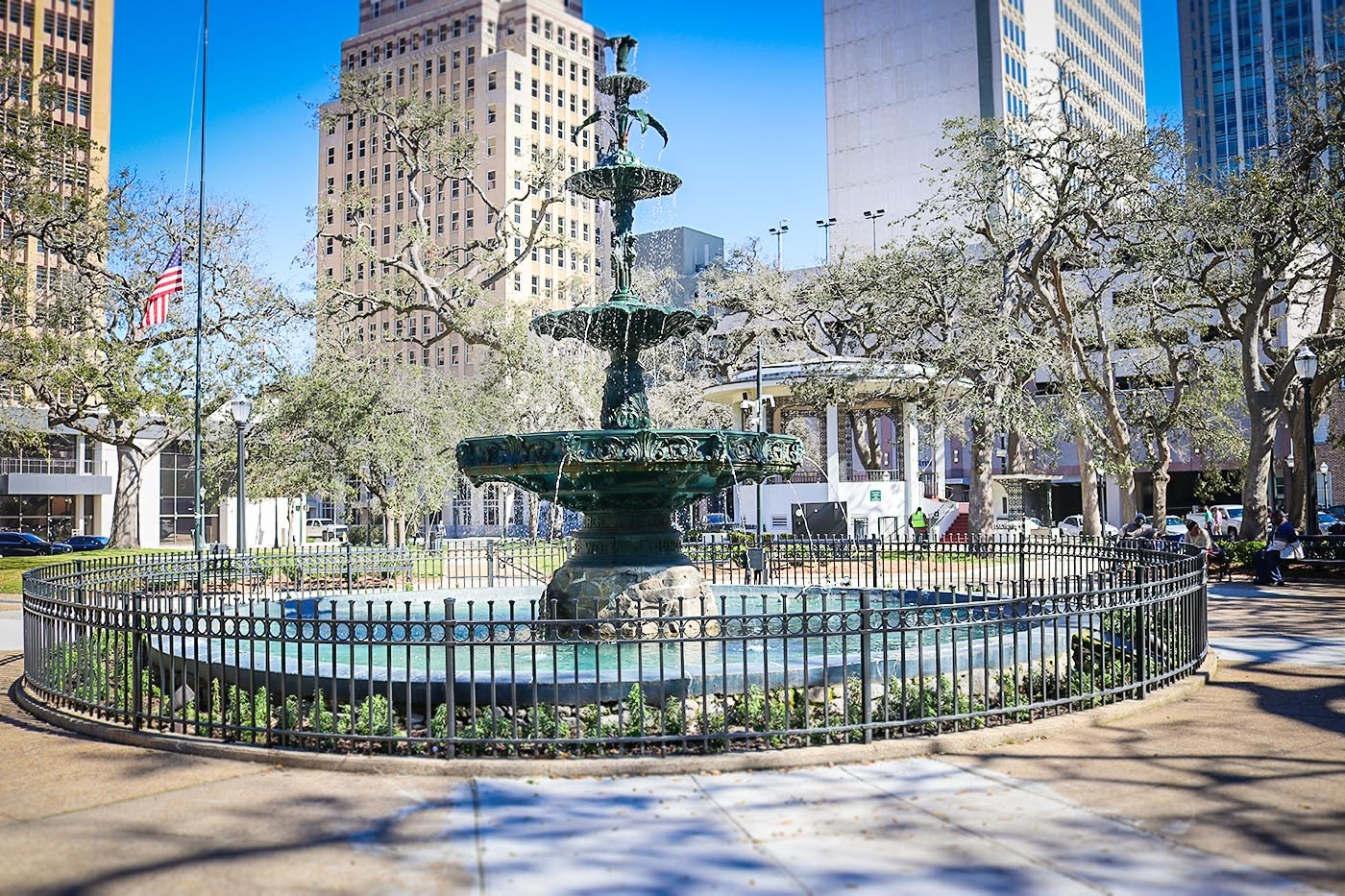 Ketchum Fountain is the center of Bienville Square in downtown Mobile.