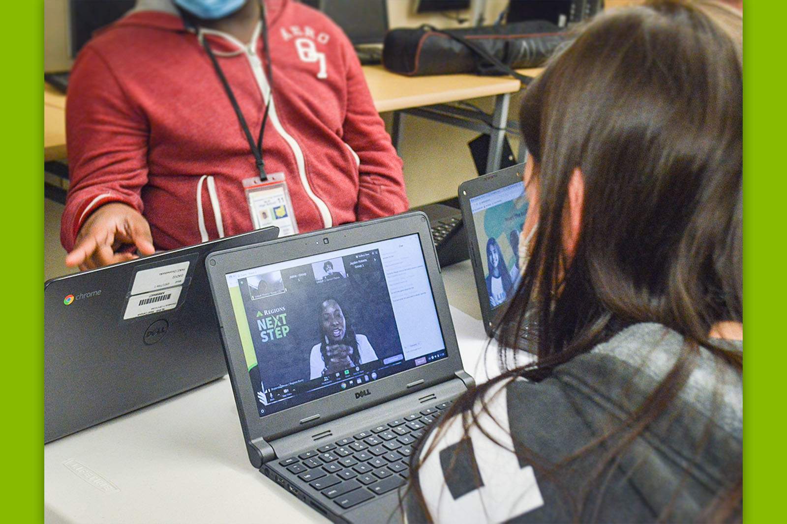 Regions' Shalonda Tillman encourages a group of student sleuths