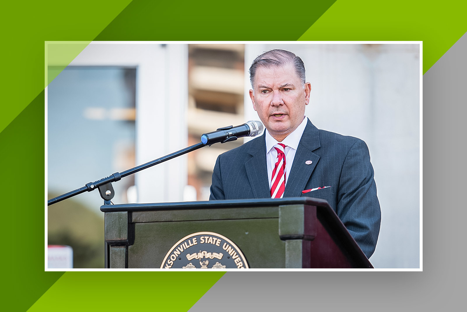 Marc Angle speaks at the Angle Hall dedication ceremony on the campus of Jacksonville State University.