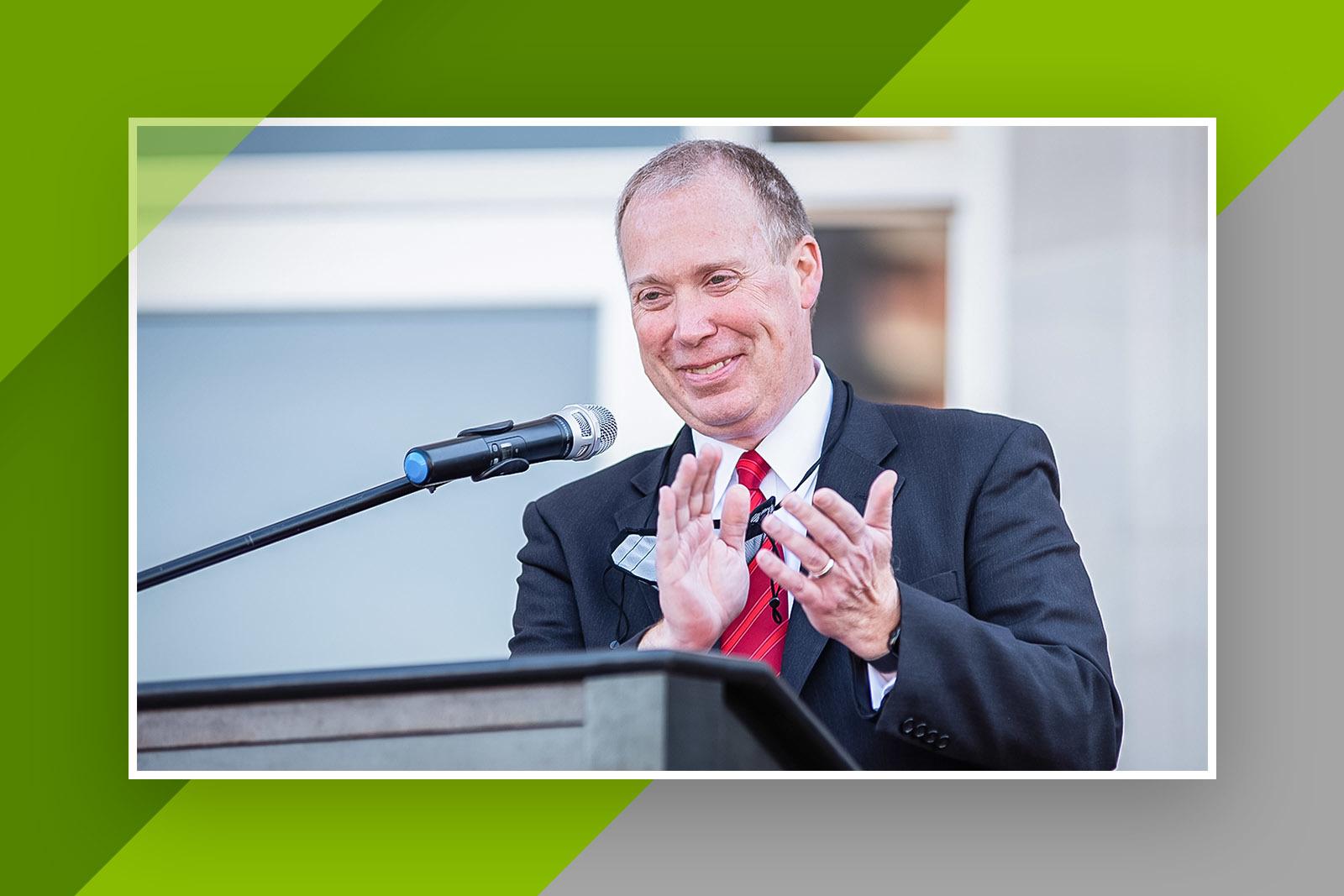 JSU President Dr. Don Killingsworth provides remarks at the dedication ceremony for Angle Hall.