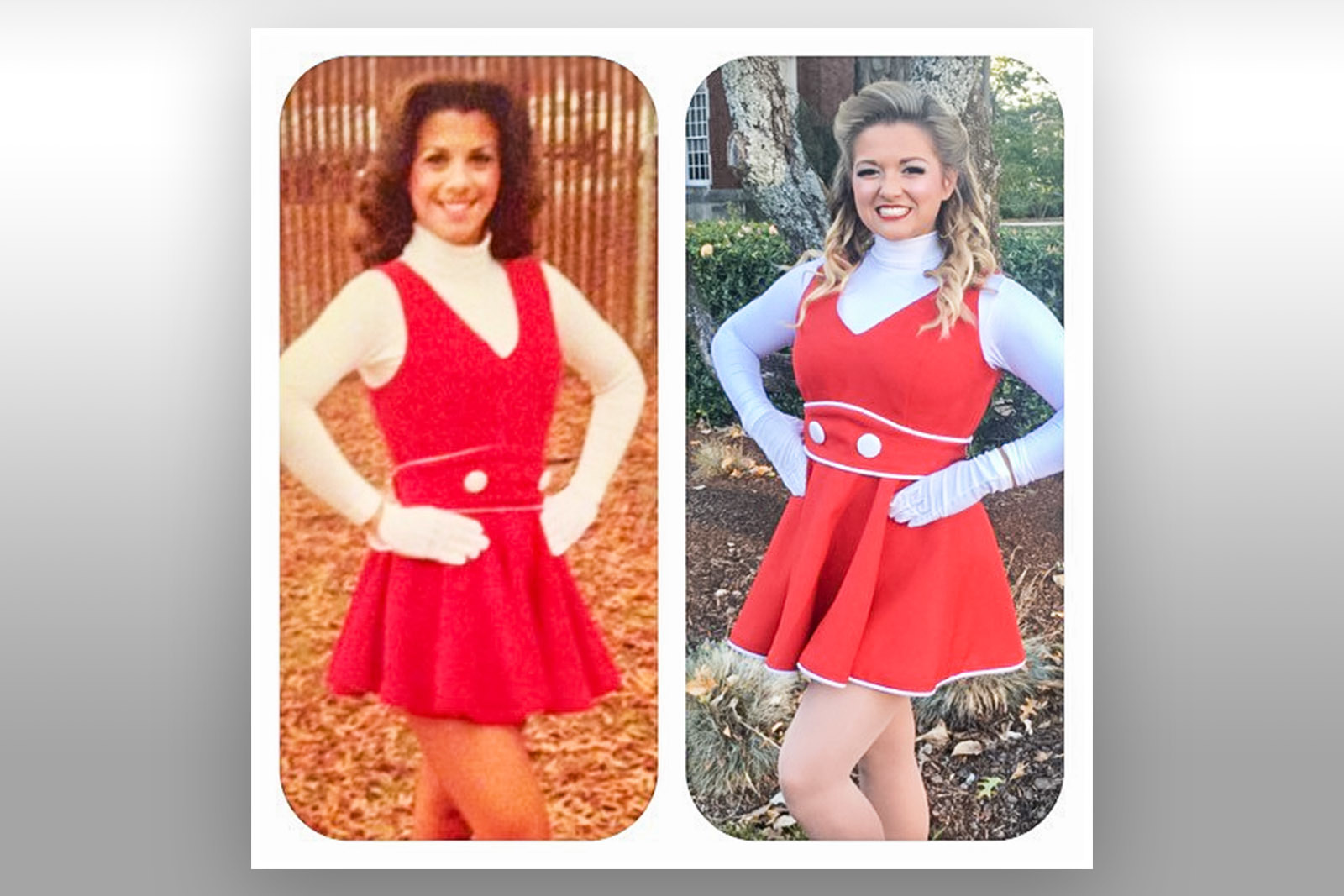 """Darby Angle, right, was a JSU Marching Ballerina just like her mother, Mary Angle, left. """"For us, our love and support of JSU is a true family affair,"""" Mary said."""