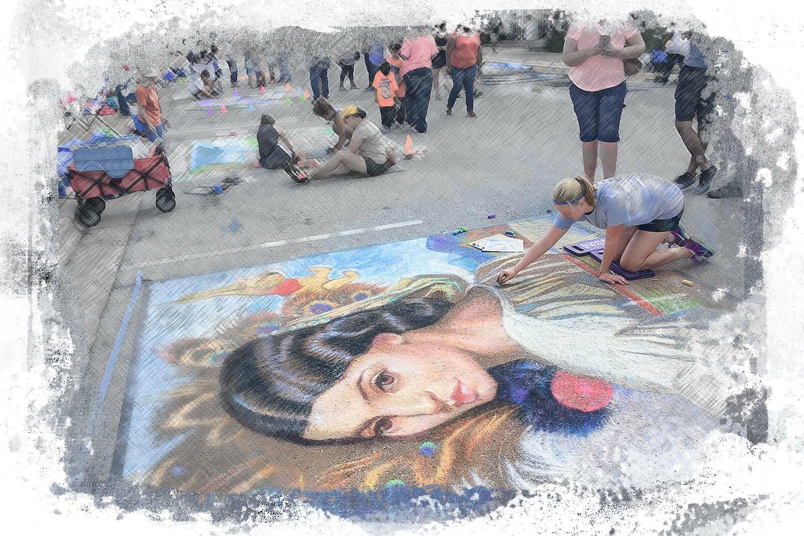 woman with sidewalk art